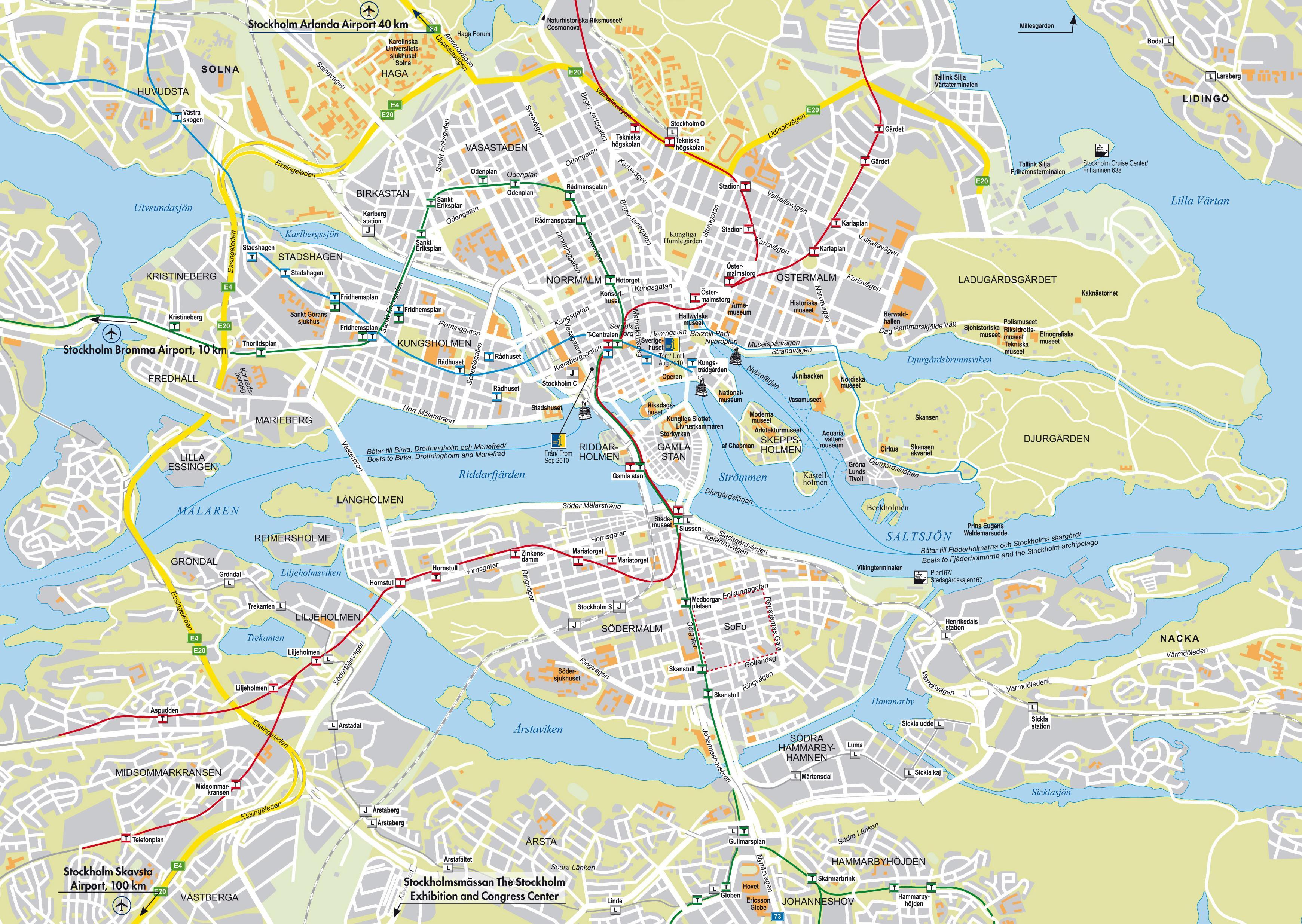 Karta Stockholm Drottninggatan.Stockholm City Map City Map Stockholm Sodermanland And Uppland