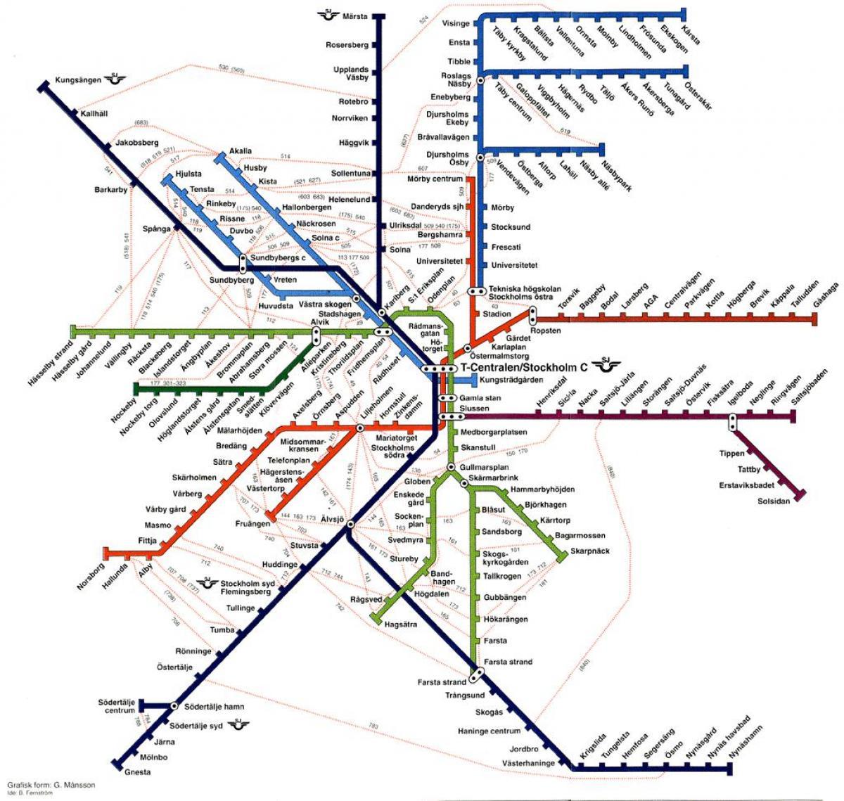 Sl Karta Stockholm Uppsala.Sl Map Stockholm Sl Train Map Sodermanland And Uppland Sweden
