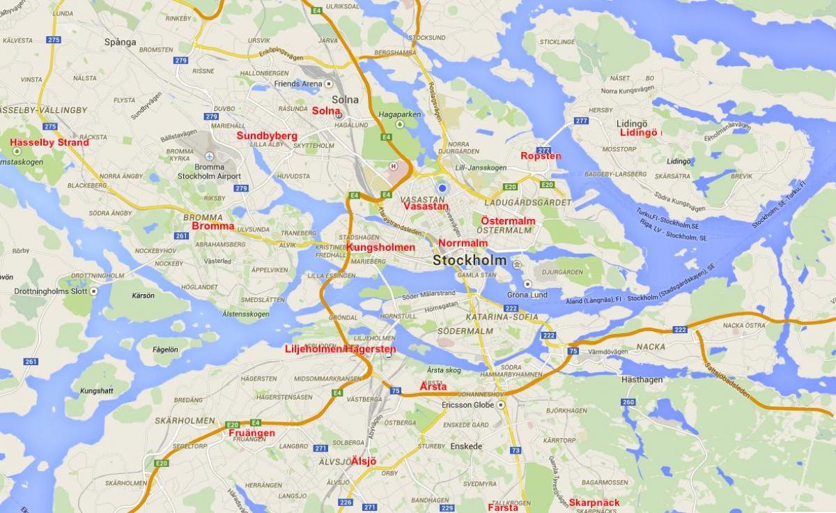 Stockholm neighborhood map - Map of Stockholm neighborhoods