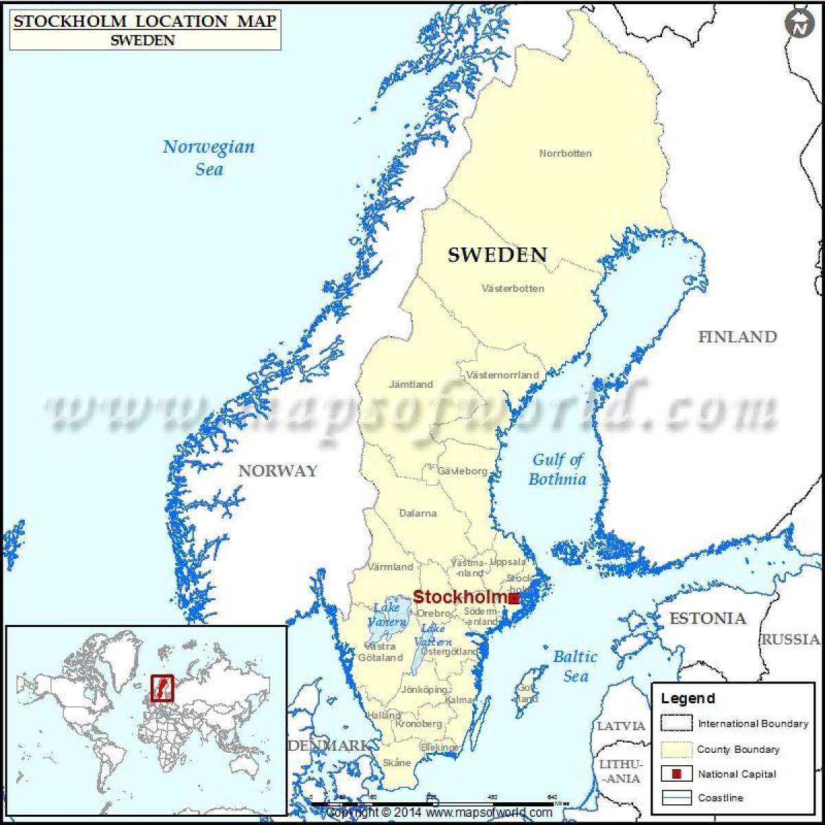Stockholm world map - Stockholm in world map (Södermanland ...
